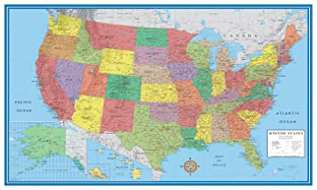 Amazoncom X United States USA Classic Elite Wall Map Mural - Map of unites states