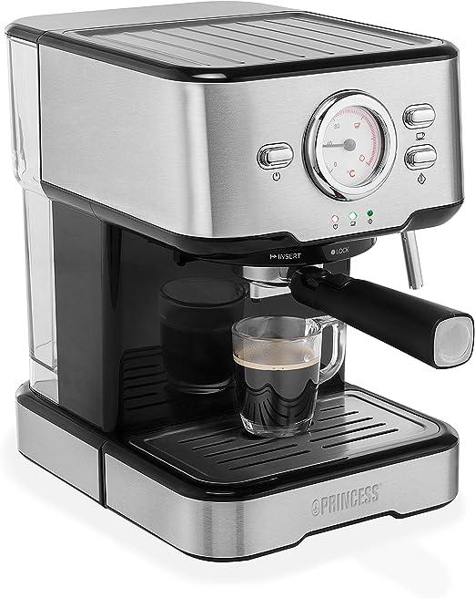 Princess 249412 Máquina de café para espresso italiano, Compatible con cápsulas Nespresso, 20 bares de presión, Depósito extraíble de , 1100 w, 1