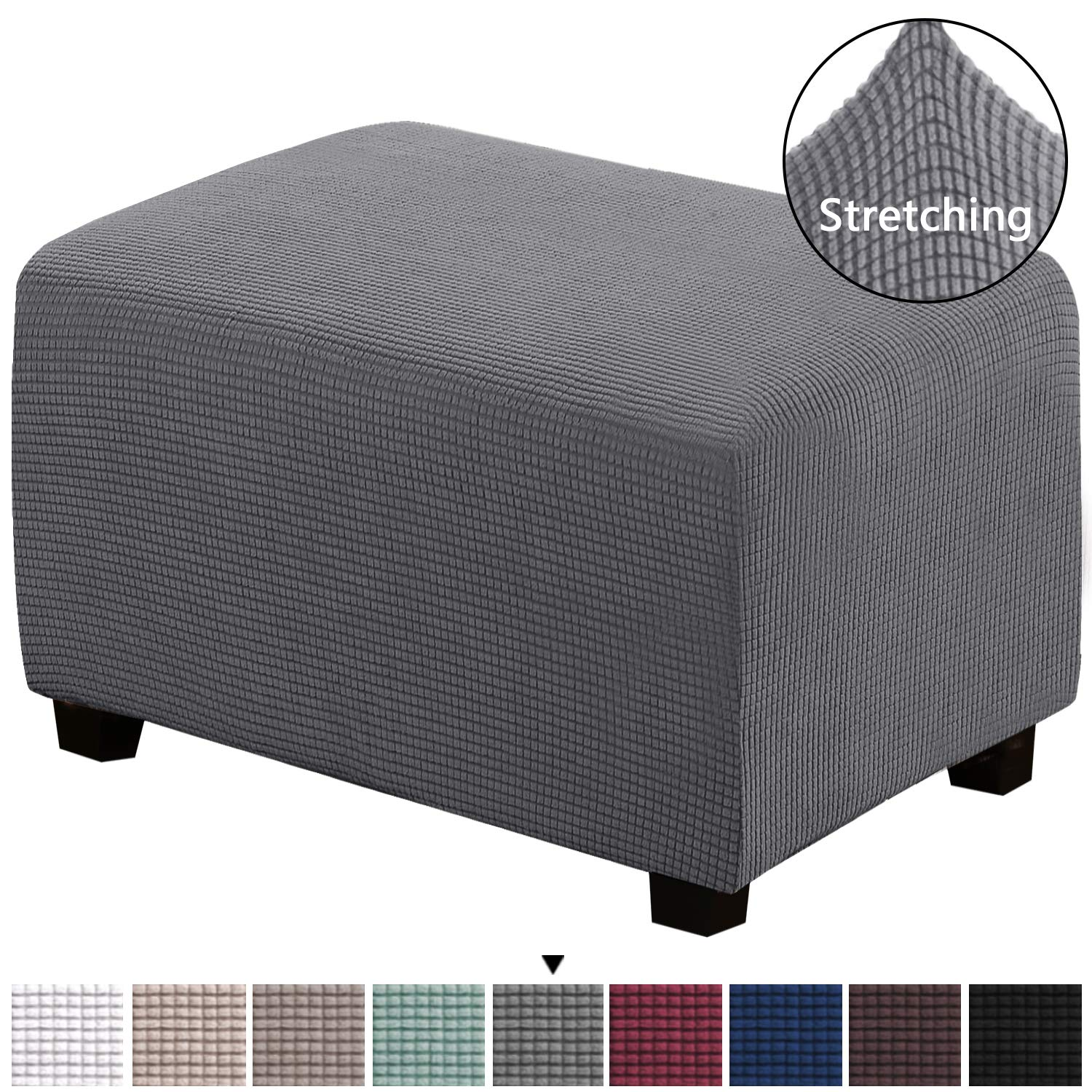 Stretch 1-Piece Storage Ottoman Slipcover Spandex Elastic Rectangle Footstool Sofa Cover for Living Room, Lycra Furniture Protector Machine Washable Spandex Ottoman Covers(Oversized, Charcoal Gray)