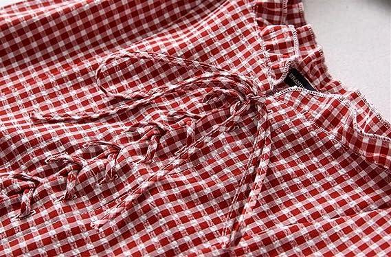 FlowerKui Elegant Camisa de cuadros de manga corta para