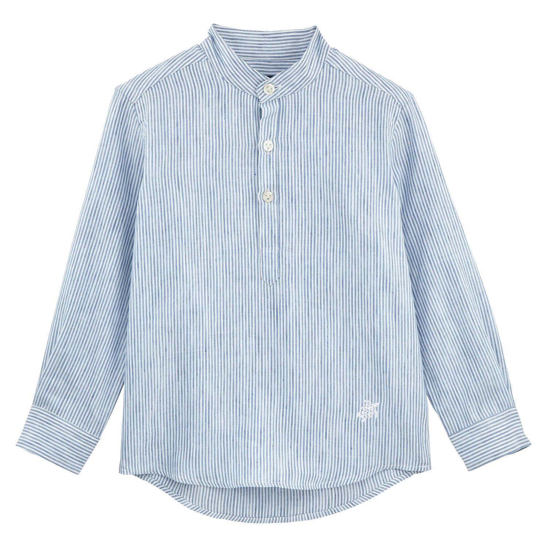 Vilebrequin Stripped Linen Round collar shirt - Boys - sky blue - 4Yrs