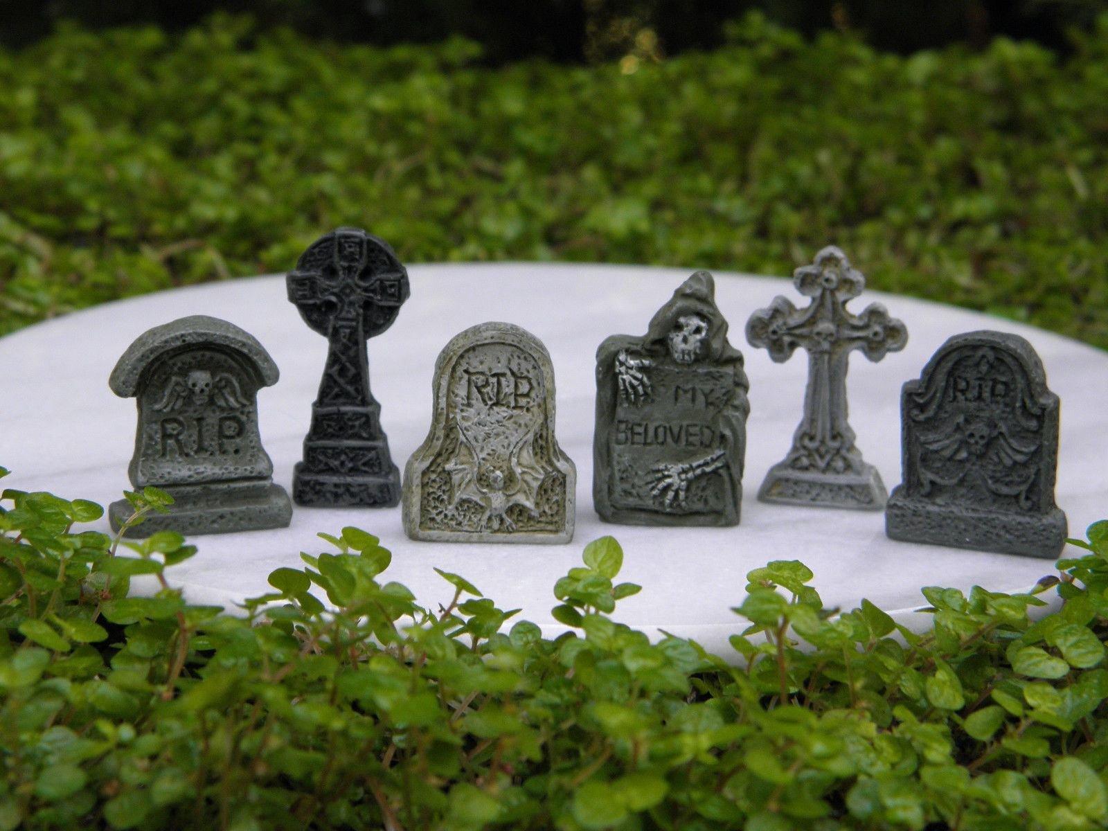 Miniature Dollhouse Fairy Garden Accessories 6 Tiny Halloween Tombstones