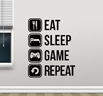 Eat Sleep Game Repeat Wall Decal Gaming Vinyl Sticker Joystick Gamepad  Gamer Wall Art Design Teen Part 70