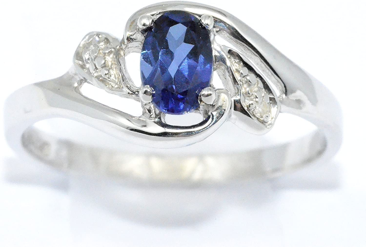 Elizabeth Jewelry Created Blue Sapphire & Diamond Oval Ring .925 Sterling Silver Rhodium Finish