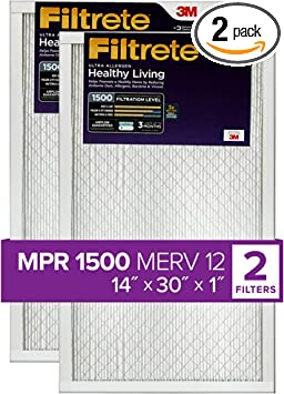 Nordic Pure 14x30x1 MPR 1500 Healthy Living Ultra Allergen Reduction Replacement AC Furnace Air Filters 3 Pack