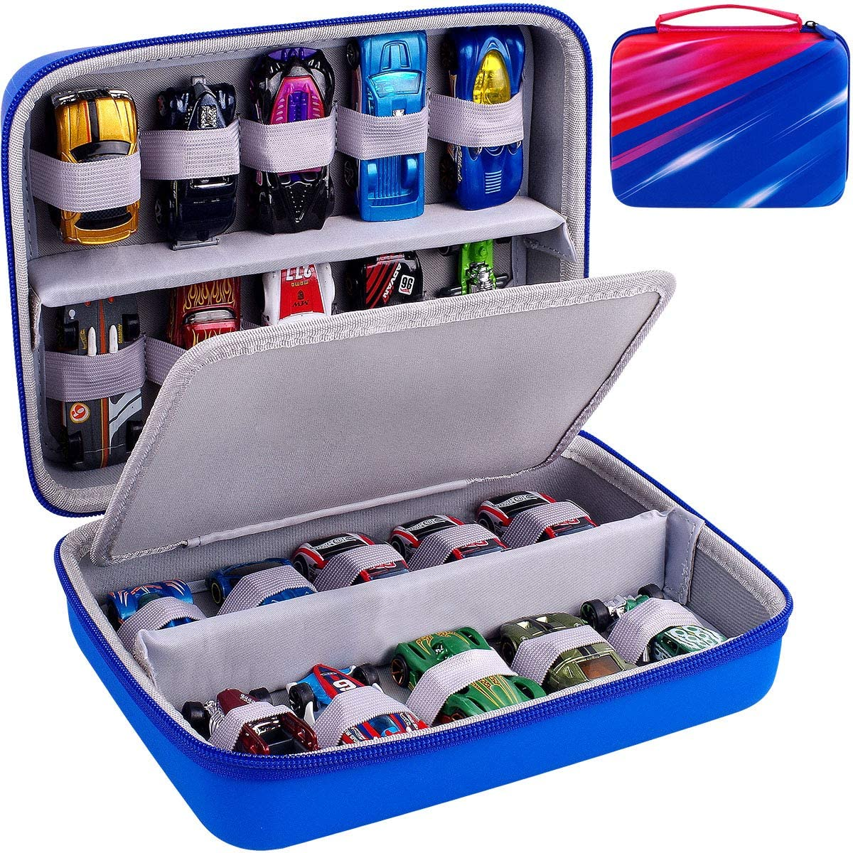 Hot Wheels Style Car Carrying Case Diecast Cars Organizer 2 Sided Storage Box
