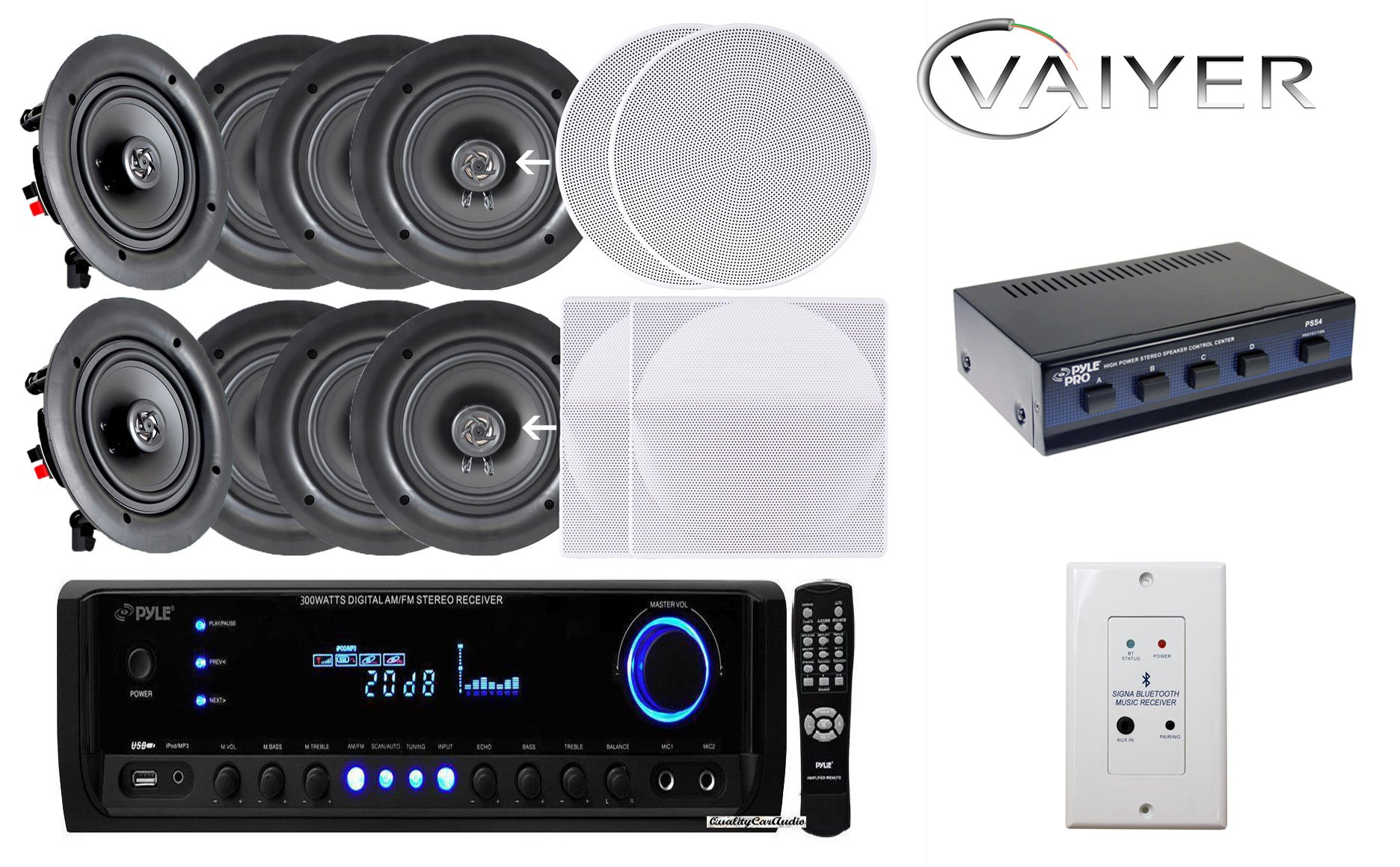 Vaiyerkits Home Audio Package - Includes: (8) 150W 5.25'' in-Wall/in-Ceiling White Speakers (1) 300W Digital Stereo Receiver (1) Remote (1) 4 Channel Speaker Selector & (1) in-Wall Bluetooth Receiver