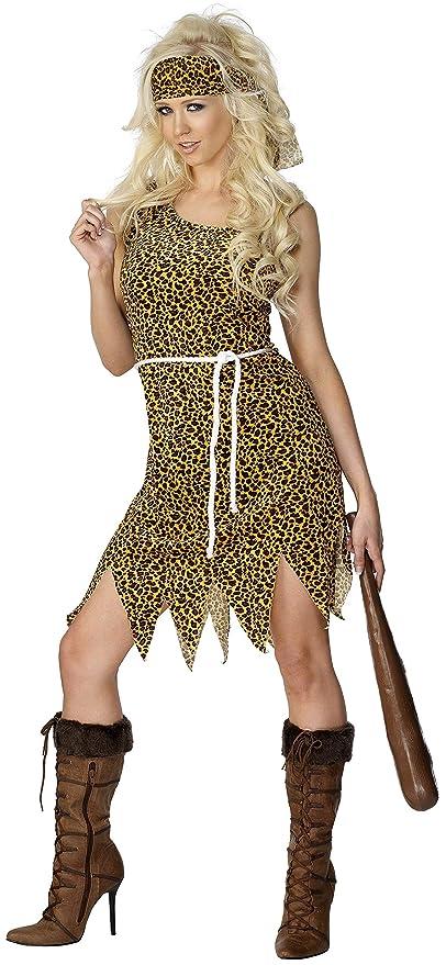 Smiffys-22452M Miffy Disfraz de Mujer cavernícola, velvetón, con Vestido, Cinta para la Cabeza y cinturón, Color marrón, M-EU Tamaño 40-42 (22452M)
