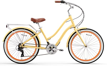 side facing sixthreezero evryjourney womens step-through hybrid cruiser bike