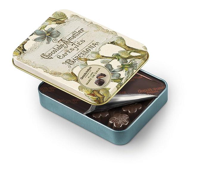 Chocolate Amatller Flors - Bombones de chocolate 50% cacao al Marc de Cava en caja metal - 72 gr. modelos surtidos, 1 unidad