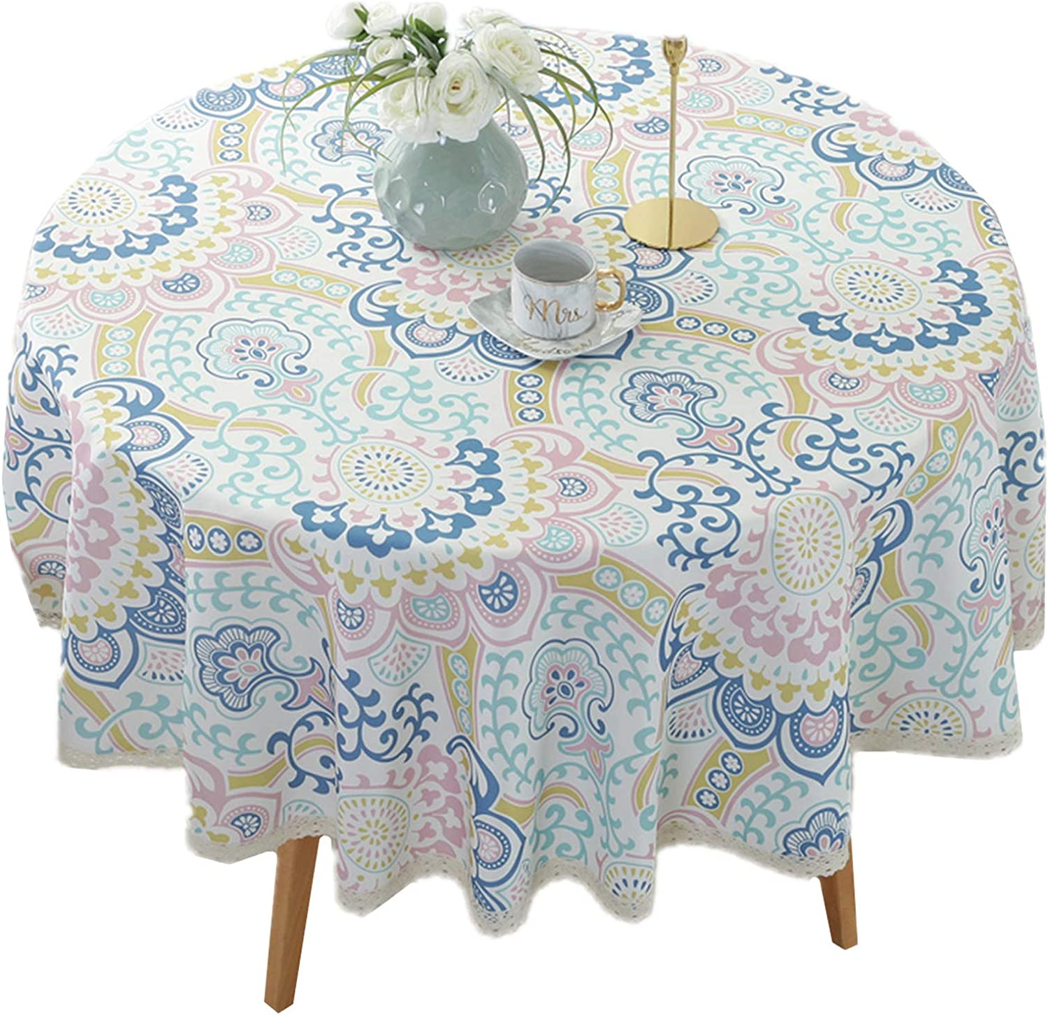 "Heavy Duty Elegant Printed Tablecloth - Spillproof Fabric Lace Table Cloth - Round Table Cover for Dining Room Kitchen Home Decor (55"" Round, Blue Cirrus)"