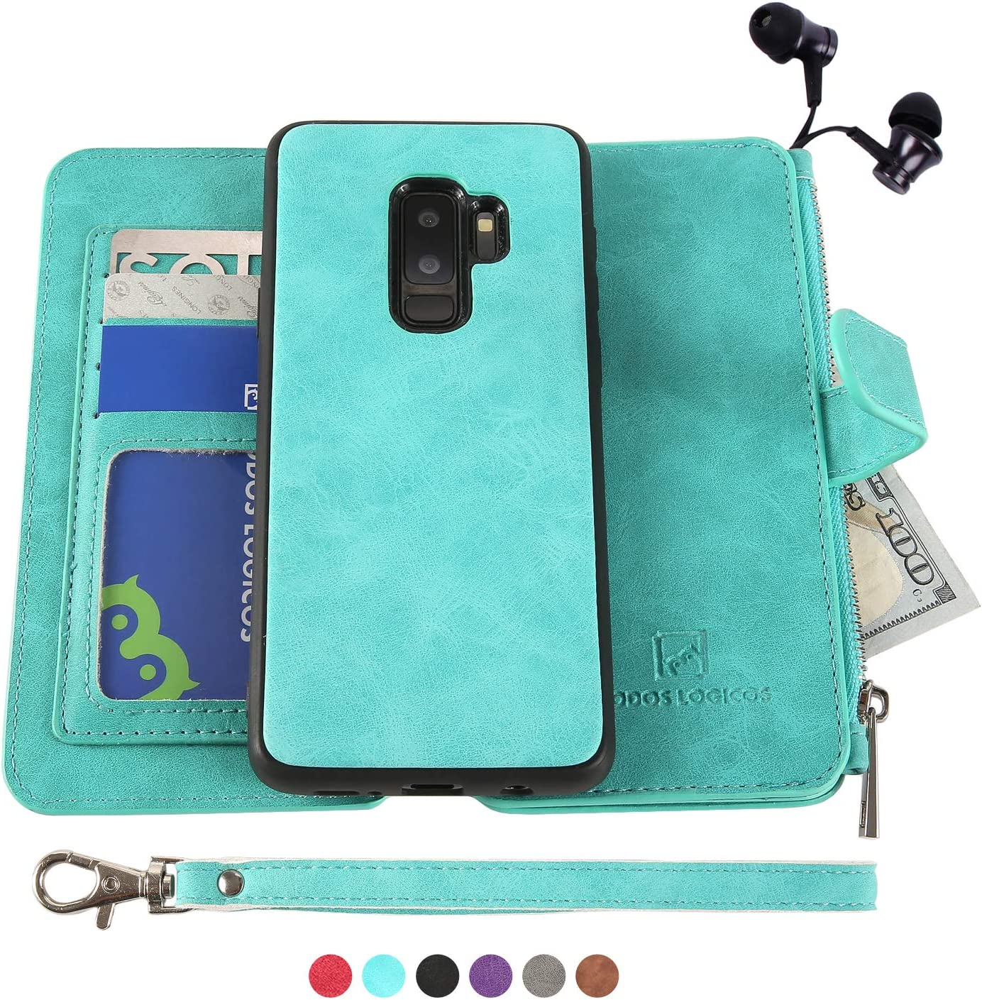 Samsung Galaxy S9 Plus Case, [Detachable Wallet Folio][2 in 1][Zipper Cash Storage][Up to 14 Card Slots 1 Photo Window] PU Leather Purse Clutch with Removable Inner Magnetic TPU Case - Teal