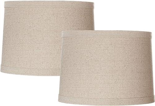 Set of 2 Natural Linen Drum Shades 13x14x10 Spider – Springcrest