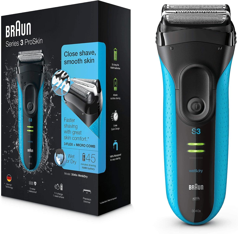 Braun Series3 ProSkin 3040 s - Afeitadora Eléctrica Hombre, Afeitadora Barba Inalámbrica y Recargable, Wet&Dry, Color Negro y Azul