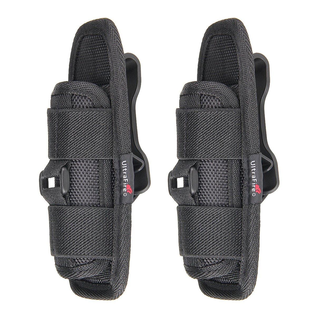 ULTRAFIRE Flashlight Holster, Baton Holder,Nylon Duty Flashlight Holder Belt Carry Case for Tactical Flashlights, 2 PCS