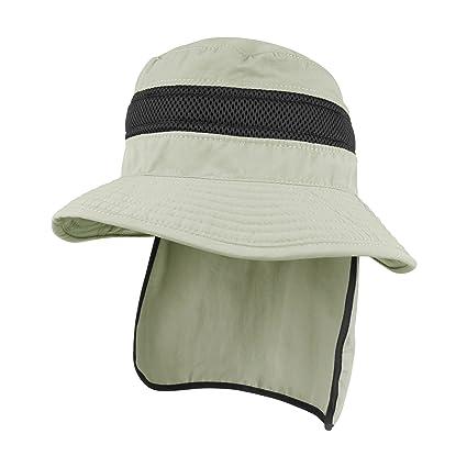 b9e4231e Juniper Sun Hats Taslon UV Bucket Hat with Flap, Khaki, Small