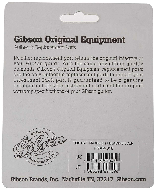 Gibson Gear PRMK-020 Perillas estilo Top Hat 4 unidades inserci/ón de metal y oro color negro