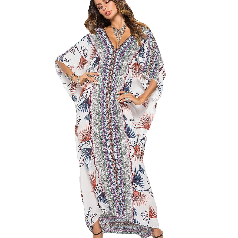2a41b71944 NOVMAY Women's Bohemian Maxi Dress Short Sleeve Split Loose Maxi Dress  Vacation Beach Cover Ups Swimsuit Cover Ups