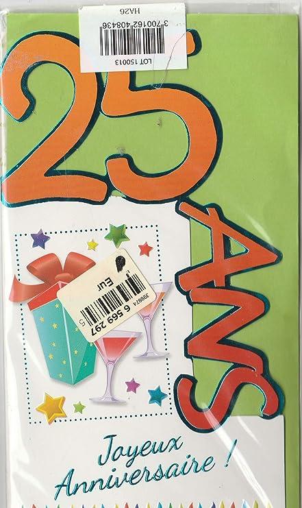 25 años cumpleaños feliz Tarjeta doble con sobre (25 A ...