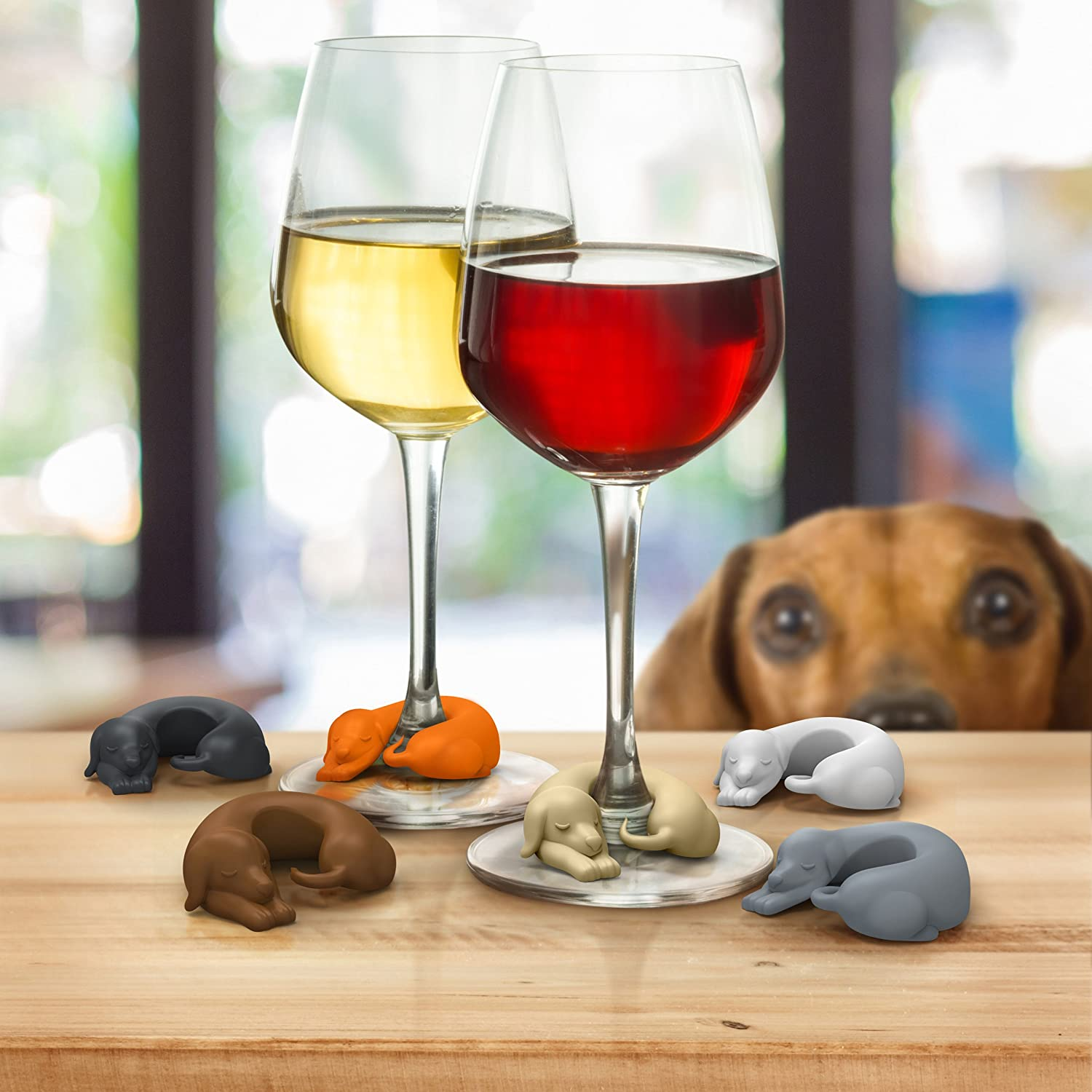 Doxie Wine Glass markers