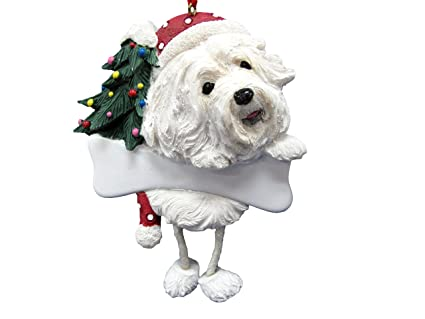 """Havanese Ornament with Unique """"Dangling Legs"""" Hand Painted and  Easily Personalized Christmas Ornament - Amazon.com: Havanese Ornament With Unique"""