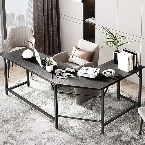 LUCYPAL L-Shaped Desk Home Office Corner Desk Computer Table Sturdy Desk Teen Desk Desk l Shape Writing Desk Studio Craft Desk Workstation Black 66 inches