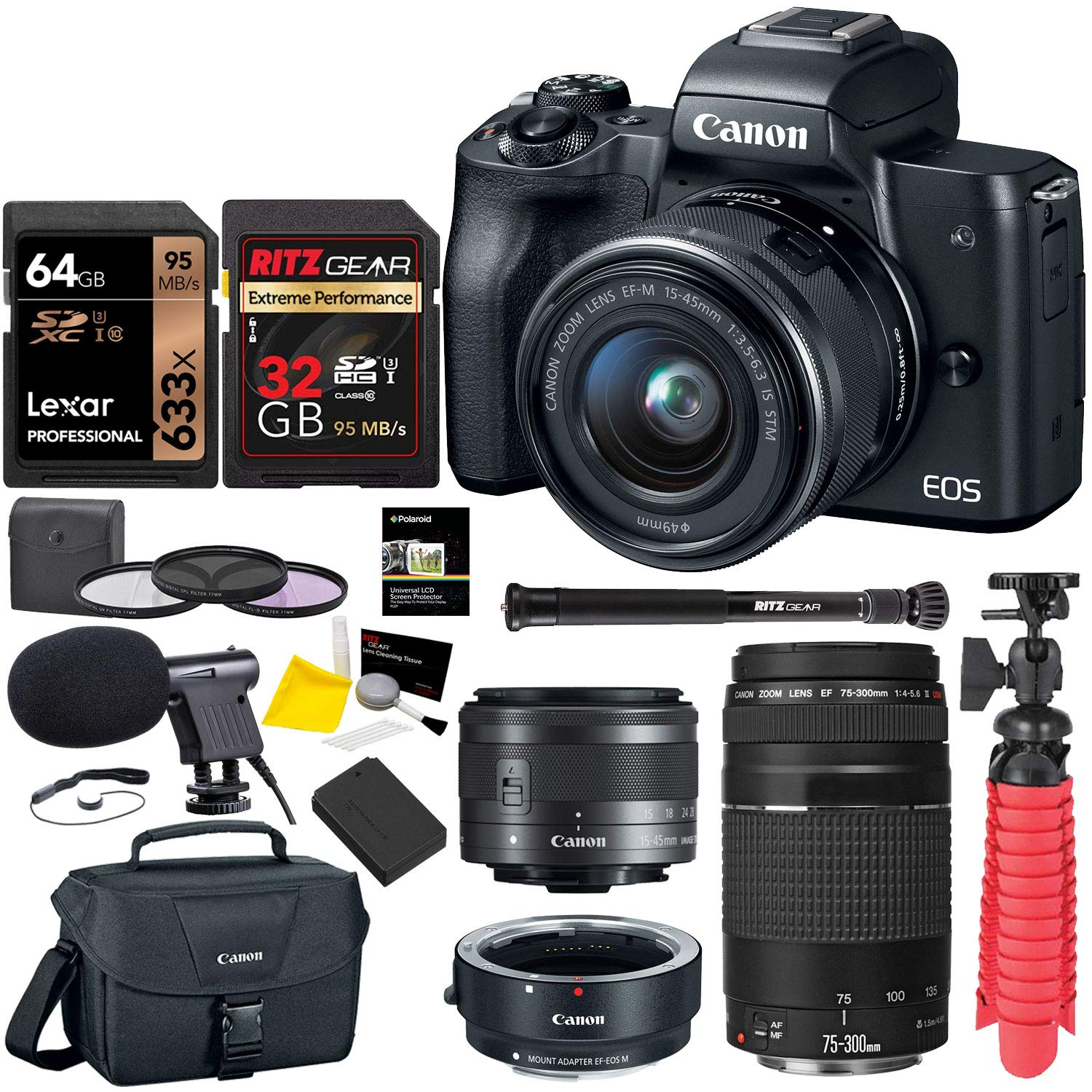 Canon EOS M50 Mirrorless Digital Camera with EF 75-300mm III, U3 Memory Card and Lens Bundle by Canon