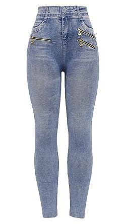 3e62a5376bb03 Barfly Fashion New Women s Ladies High Waist Thick Stretchy Denim Printed  Denim Look Ripped Skinny Legging