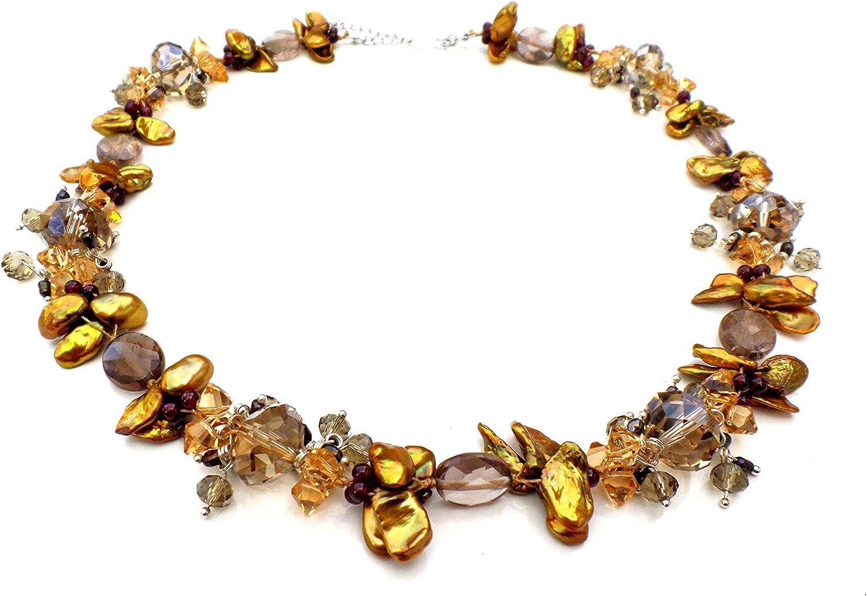 Amarillo mostaza la perla de agua dulce, de color dorado y collar pulsera racimo de topacio ahumado