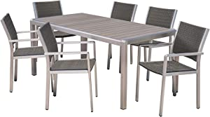 Christopher Knight Home Coral Outdoor 7 Piece Aluminum and Wicker Dining Set with Faux Wood Table Top, Gray Finish