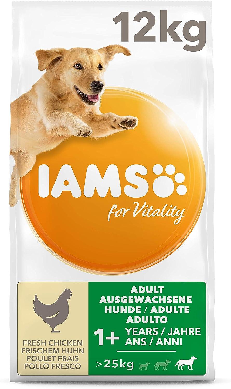 IAMS for Vitality Alimento para Perros Grandes Adultos con pollo fresco, 12 kg