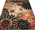 Boho Area Rugs Retro Floral - MeMoreCool Home Living Mats Protective Decorative Carpets 1PC 75 X 98 Inch