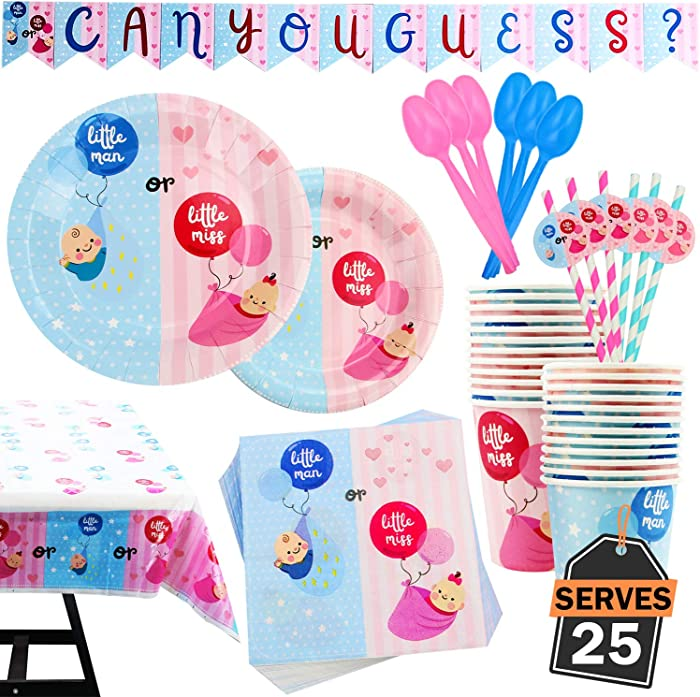 202 Piece Gender Reveal Party Supplies Set Including Banner,Plates, Cups, Napkins, Spoons, Forks, Knives, Tablecloth and Straws, Serves 25