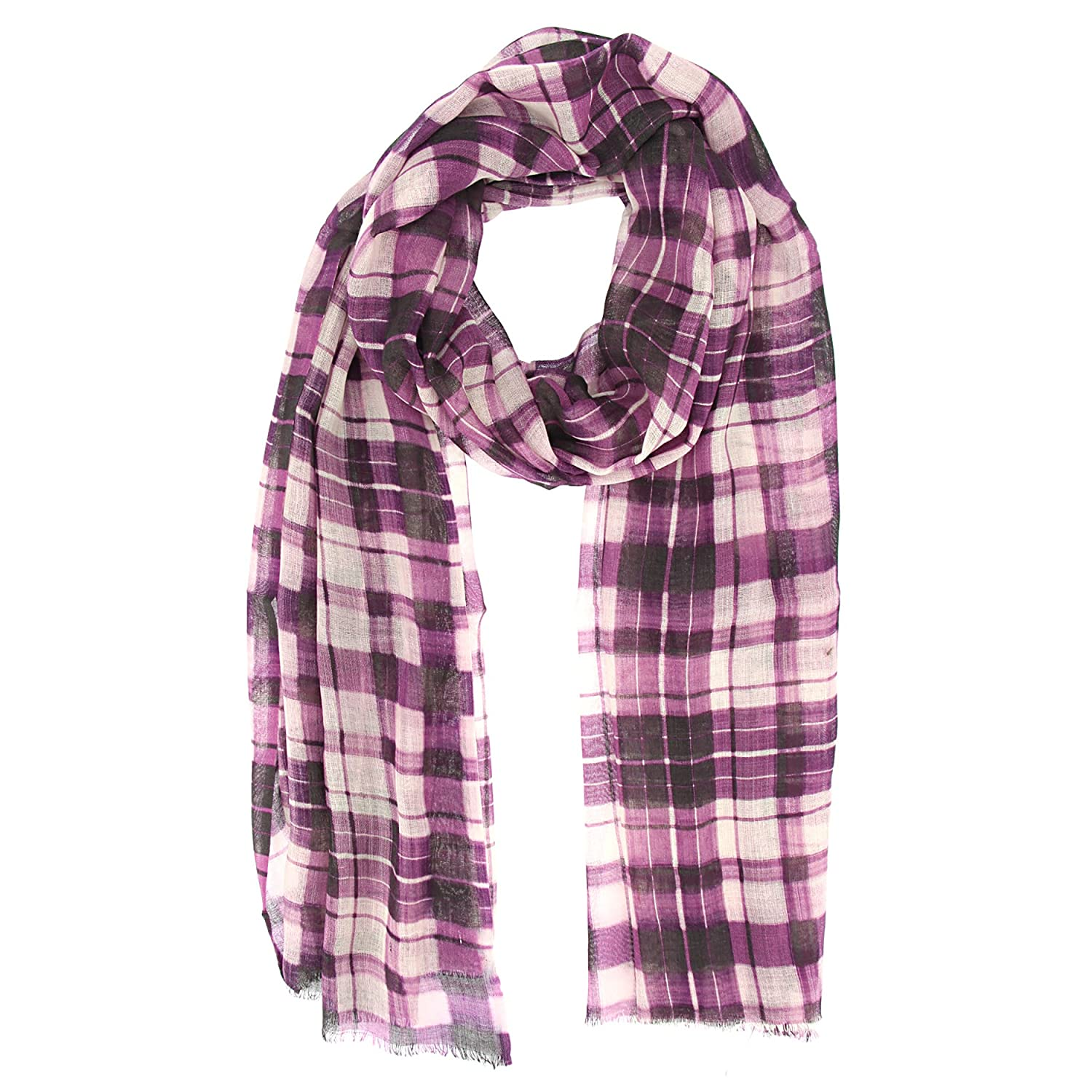 Checkered Purple Cotton Wool printed Women scarf