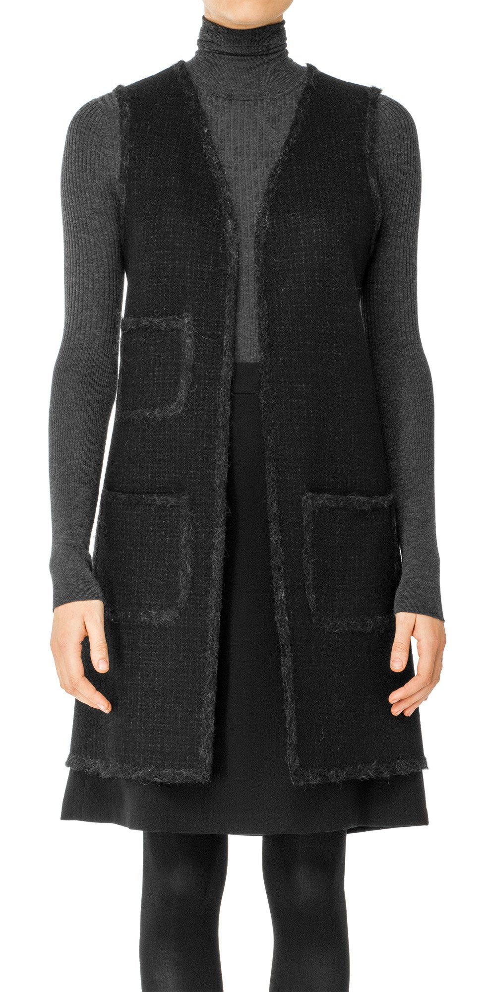 Max Studio by Leon Max Boiled Wool Shadow Checked Long Vest - 5106B45-CHARCOAL-S