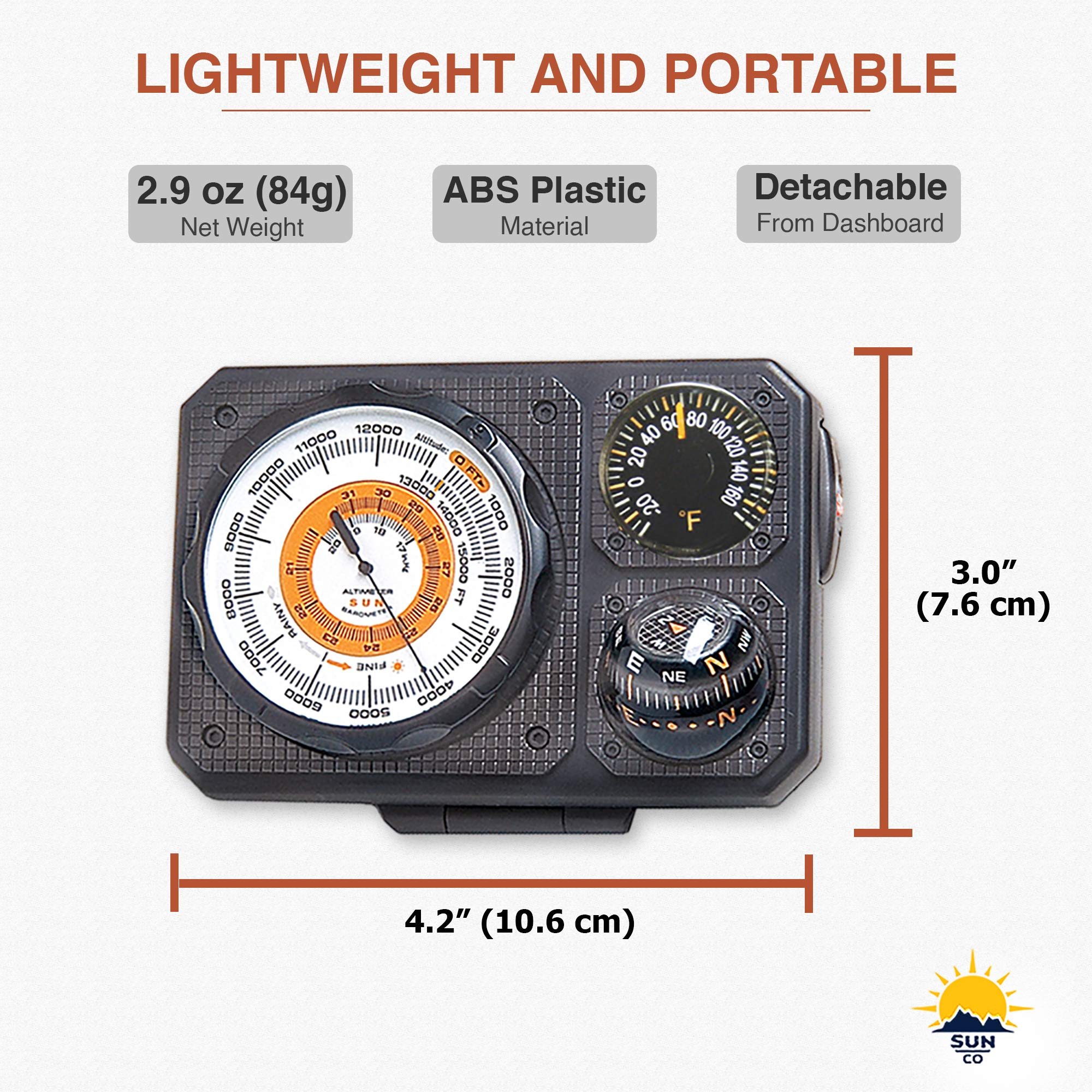 Sun Company Navigat'r 6 - Six-Function Dashboard Instrument for Car and Truck   Altimeter, Barometer, Ball Compass, Thermometer, LED Light, Signal Mirror by Sun Company