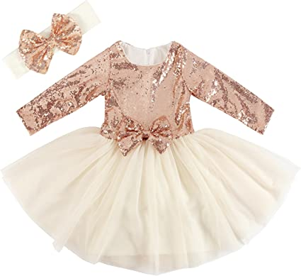 NEW Girls Clothing Gold Cream Sequins Party Dress