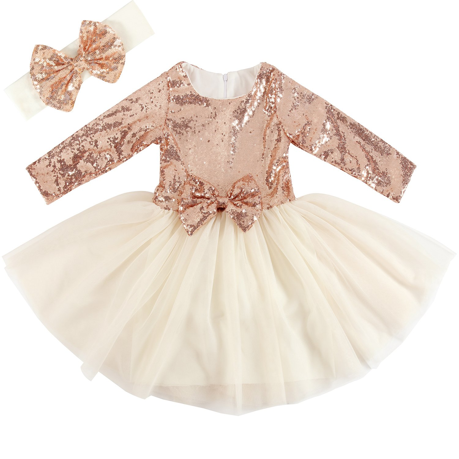 Cilucu Flower Girl Dresses Toddlers Sequin Party Dress Tutu Prom Cocktail Gown with Long Sleeve Rose Gold/Offwhite 3T-4T