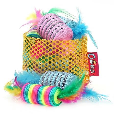 Chiwava Juego interactivo de pelotas de color arcoíris, juguetes para gatos de 20 a 24