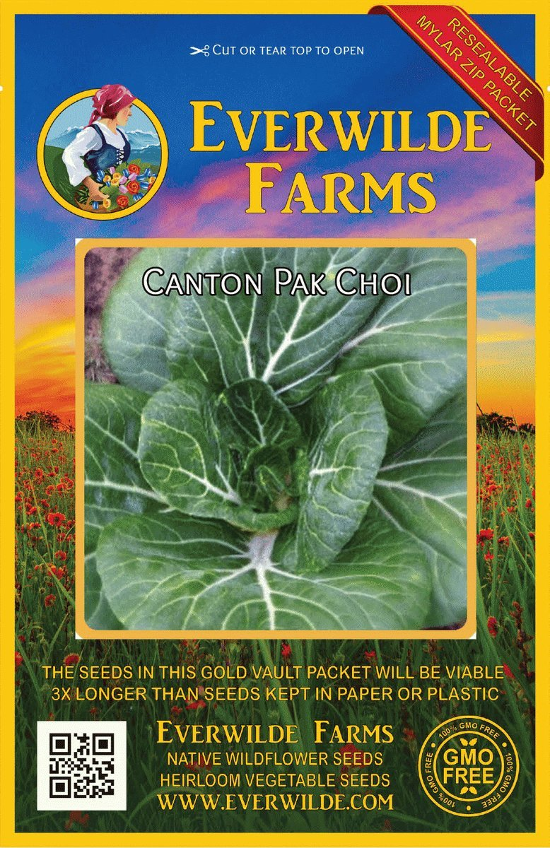 Everwilde Farms Mylar Seed Packet 1 Oz Canton Pak Choi Chinese Cabbage Seeds