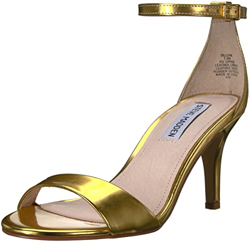 Steve Madden Women's Sillly Dress Sandal, Gold Foil, ...