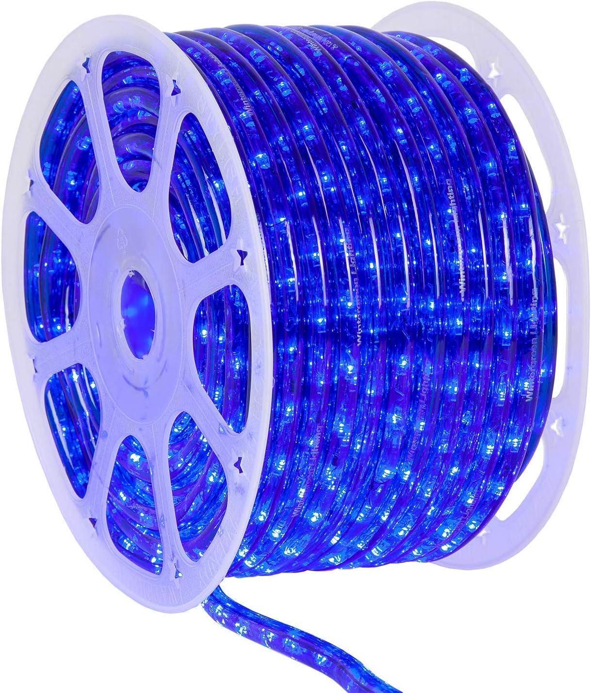 Wintergreen Lighting 150' Blue LED Rope Light, LED Flexible Light Rope String Light Outdoor – LED Light Rope Bedroom Portable LED Light Rope, 120V, ½ Inch, 2-Wire (150 ft, Blue)