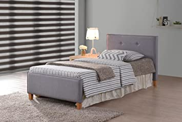 Amazon Com Grey Fabric Tufted Button Platform Bed Frame Twin Size