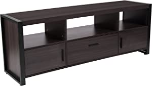 Flash Furniture Thompson Collection Charcoal Wood Grain Finish TV Stand and Media Console with Black Metal Frame