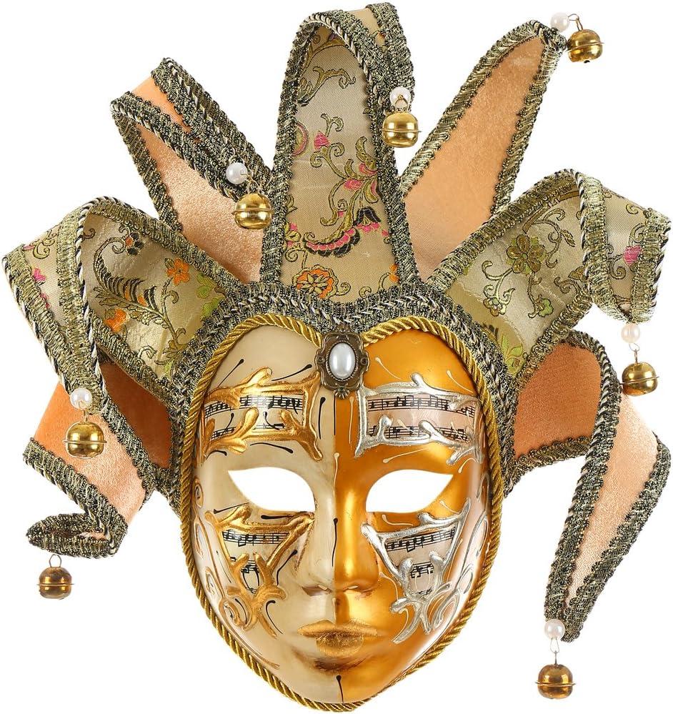 Hophen Gold Volto Resin Music Venetian Jester Mask Full Face Masquerade Bell Joker Wall Decorative Art Collection
