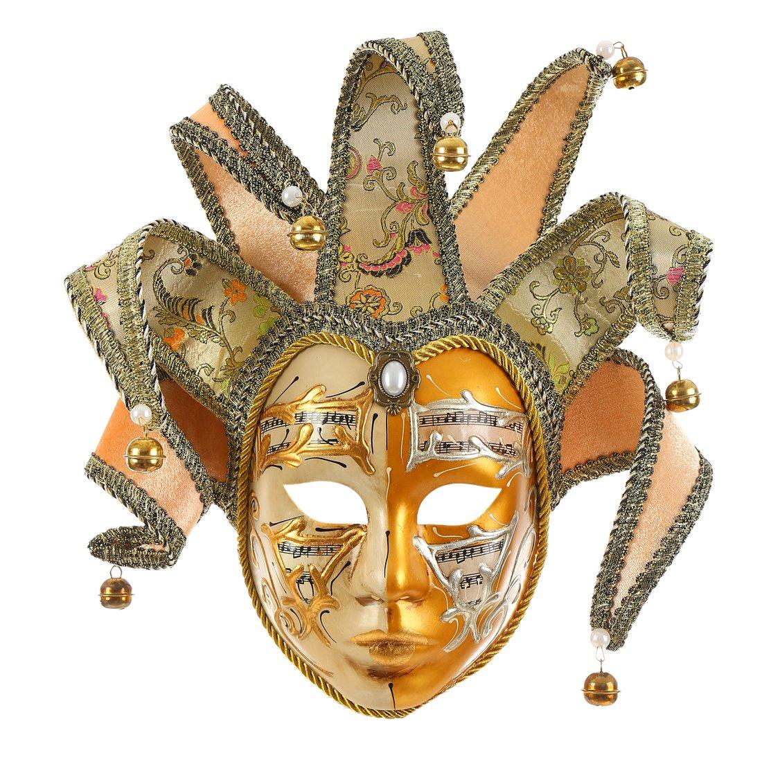 Gold Volto Resin Music Venetian Jester Mask Full Face Masquerade Bell Joker Wall Decorative Art Collection by Hophen