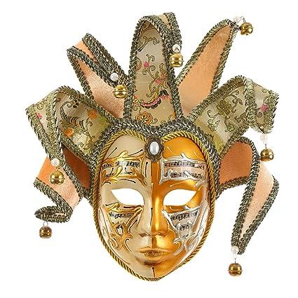 Amazon.com: Gold Volto Resin Music Venetian Jester Mask Full Face ...