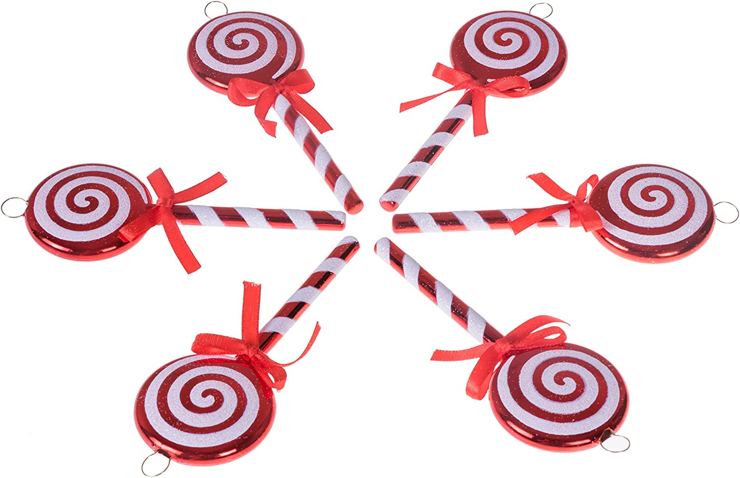 "Clever Creations Red and White Lollipop Christmas Tree Ornament Set | 6 Pack | Festive Holiday Décor | Lightweight Shatter Resistant | Strings Included | 5"" Tall"