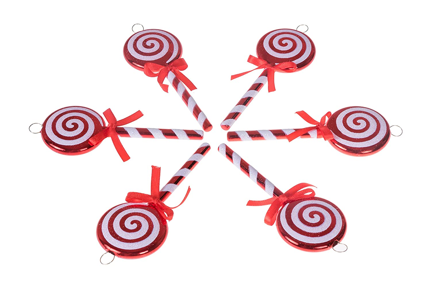"Clever Creations Christmas Lollipop Ornament Set Red and White Candy Cane Design | 6 Pack | Festive Holiday Décor | Timeless Classic Design | Shatter Resistant | Hangers Included | 5"" Tall"