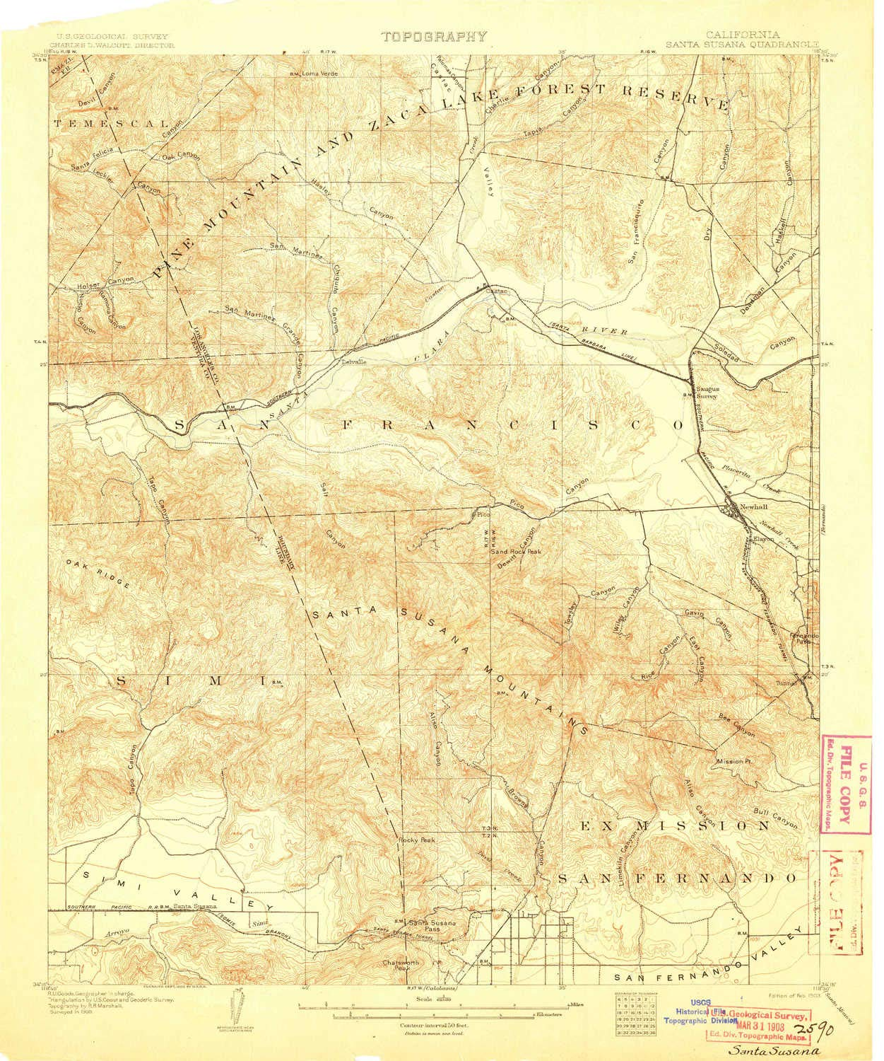 YellowMaps Santa Susana CA topo map, 1:62500 Scale, 15 X 15 Minute, Historical, 1903, 19.9 x 16.6 in - Tyvek by YellowMaps